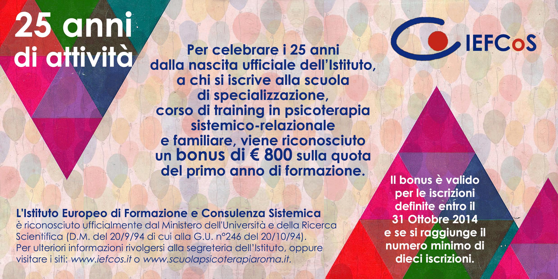 promozione per i 25 anni della Scuola di Specializzazione in Psicoterapia IEFCoS Roma
